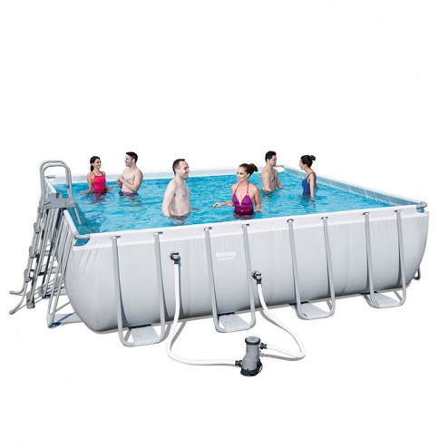 Power Steel Square Piscine 488 x 488 x 122cm