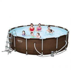 Power Steel Rattan Piscine 427 x 107cm
